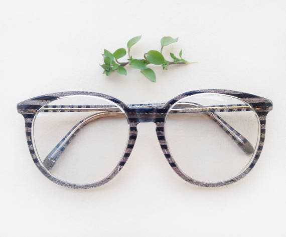 3b8722f69c 80s rounded eyeglasses   Vintage dead-stock striped frames
