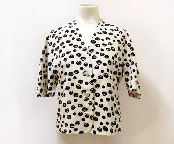 Veste Manches 50 Taille Courtes Pour Noir Femme Blanc Blazer Années Made Italy Et Fleurs Ivoire In 40 Courte nwPO80NkX