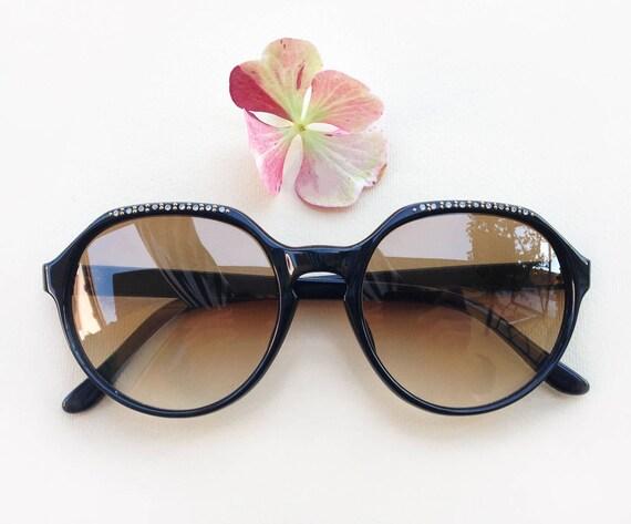 87d8765596c 70s rhinestones sunglasses   Vintage deadstock black
