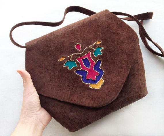ANDREA PFISTER bag / 70s suede Leather Envelope sa