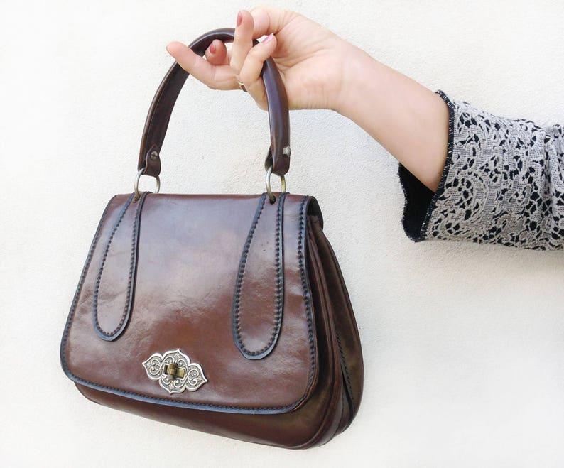78cde7d32e Deliziosa Borsa clutch Vintage anni 50 in vera pelle marrone / | Etsy