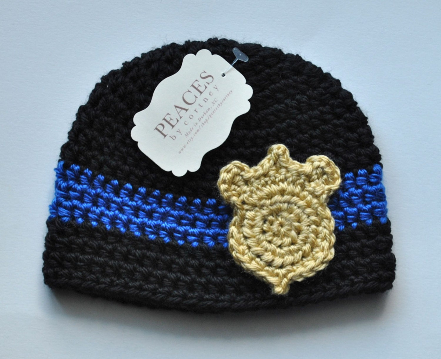 Police Baby Hat - Black with Gold Badge (skull cap beanie) 53089a65d04