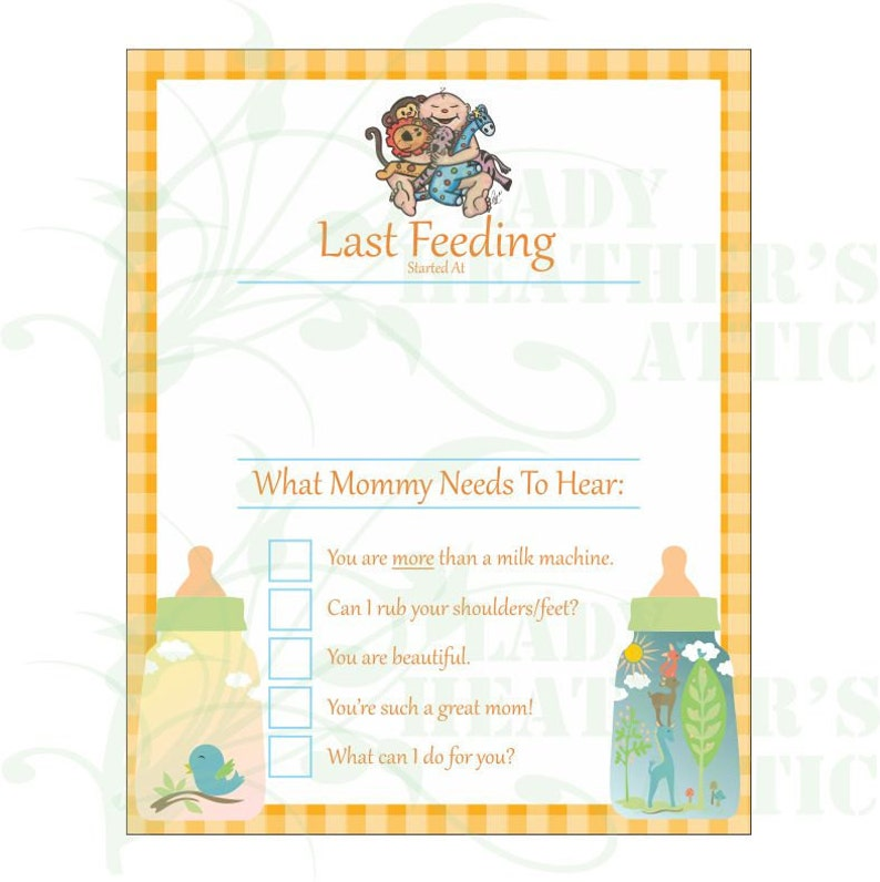 Infant Feeding Reminder Dry Erase Board Printable Baby Shower Gift Idea