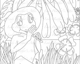 Frog Playing Flute Coloring Page Digital Download Scrapbooking