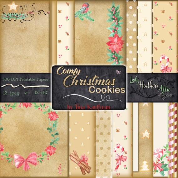 graphic about Printable Kraft Paper named Kraft Paper At ease Xmas Cookies Electronic Paper, Printable Sbook Paper, Instantaneous Down load, Electronic Art Vacation