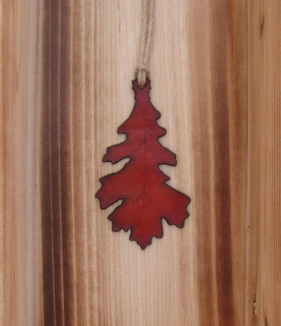 fall ornament oak leaf leather ornament in antique orange etsy etsy