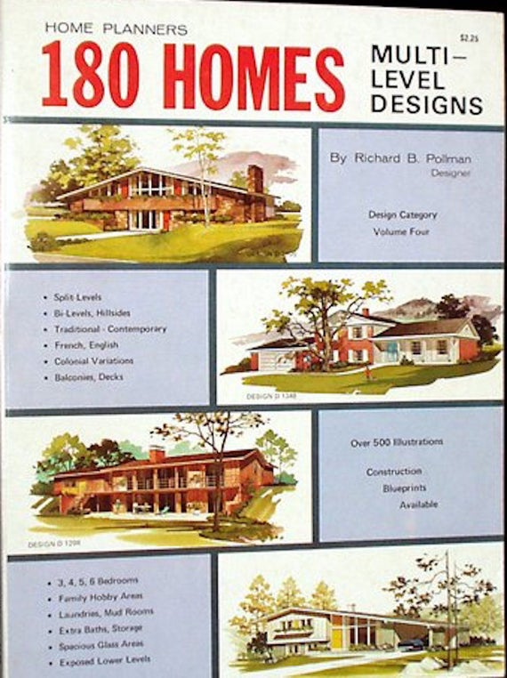 180 Homes Multi-Level Home Plans by Richard Pollman (1977) Mid Century on cardboard box home designs, container home designs, carriage home designs, train car home designs, rail car dock designs,