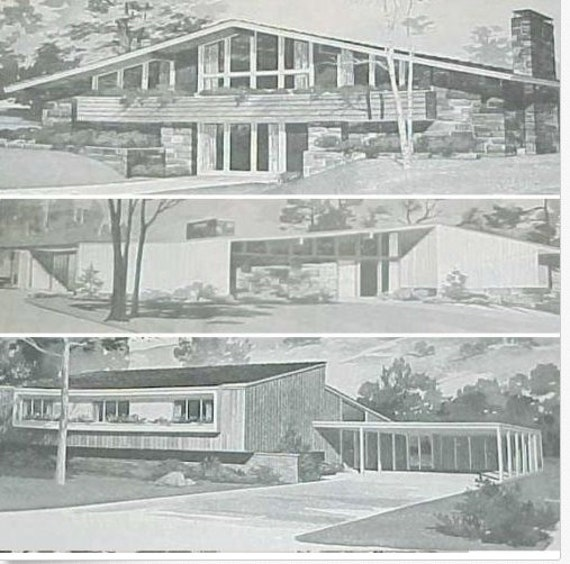 Modern Ranch Home Designs: 185 Homes MID CENTURY Modern House Plans Ranch Atomic Mod