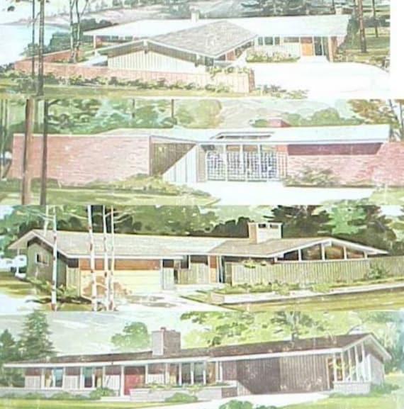 1977 250 Häuser Einstöckige Designs Mitte Jahrhundert Moderne | Etsy