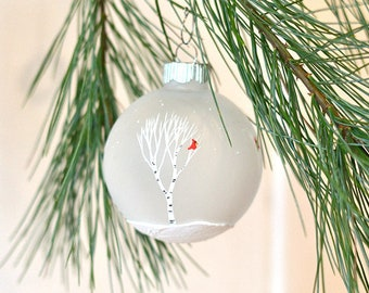 Hand painted ornament, birch tree ornament, cardinal ornament, Christmas ornament, rustic Christmas tree ornament, cardinals and birch trees