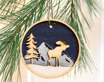 Antlers Country Moose Christmas Ornament Moose Ornament Handmade Woodland Moose Holiday Decoration Wooden Moose Christmas Tree Ornament
