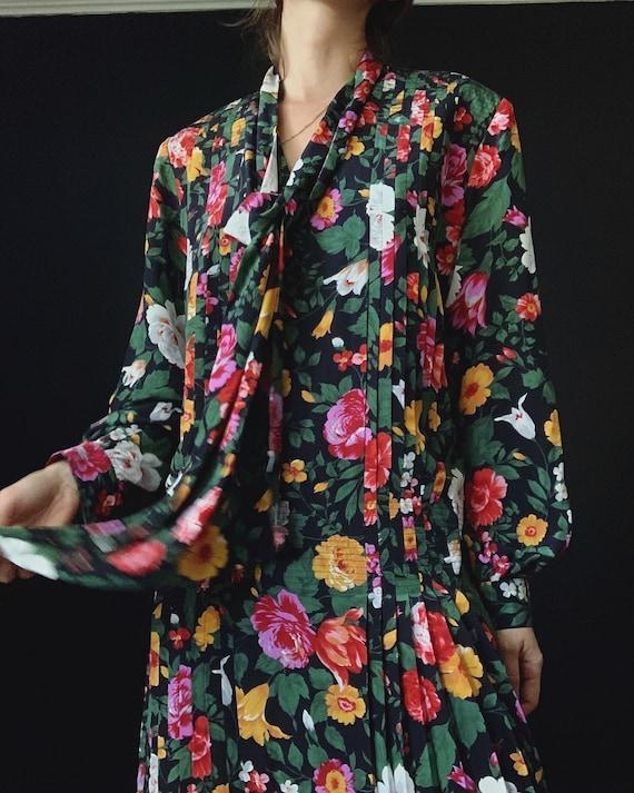 Albert Nipon Silk Floral Dress