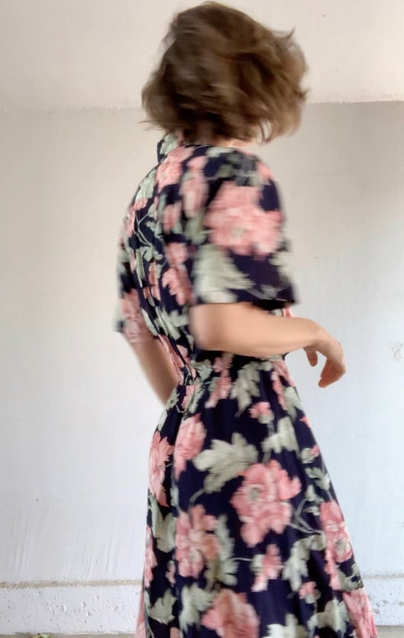 1980s Floral Rayon Dress