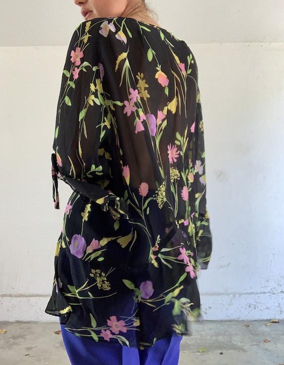 Silk Chiffon Floral Blouse - image 3