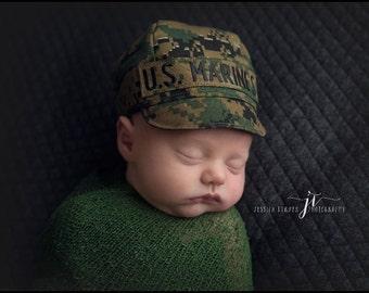 MARINE Woodland Baby Military Caps, Marine Baby, Marine Hat, Military Baby, USMC Inspired