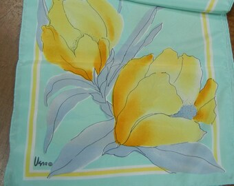 Vera scarf - vintage 1980s Vera scarf - long - turquoise with yellow crocus