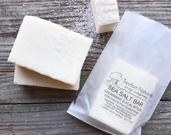 Sea Salt Soap - Handmade Cold Process, All Natural, lightly scented, vegan, essential oil soap, Salt Bar