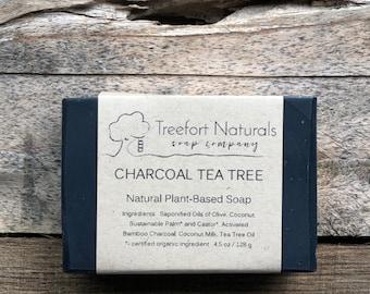 Charcoal Tea Tree Soap - Handmade Cold Process, Organic,  Bamboo Charcoal, All Natural, vegan, Detox Soap, facial soap