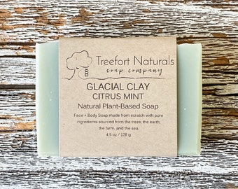 Glacial Clay Citrus Mint Soap (lightly scented) - Handmade Cold Process, All Natural, vegan, essential oils