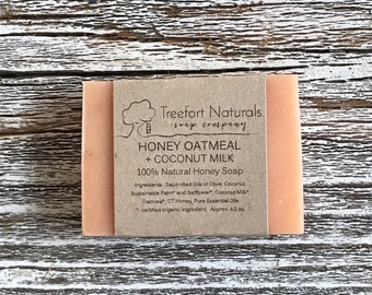Honey Oatmeal + Coconut Milk soap - Handmade Cold Process soap, All Natural, essential oil soap, lightly scented