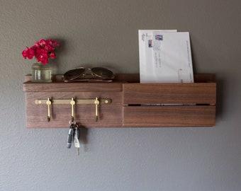 Solid Walnut Key Hook Entryway Organizer, Mail Holder, Key Hooks with Mail Holder, Wall Mount Key Hooks, Mail Organizer