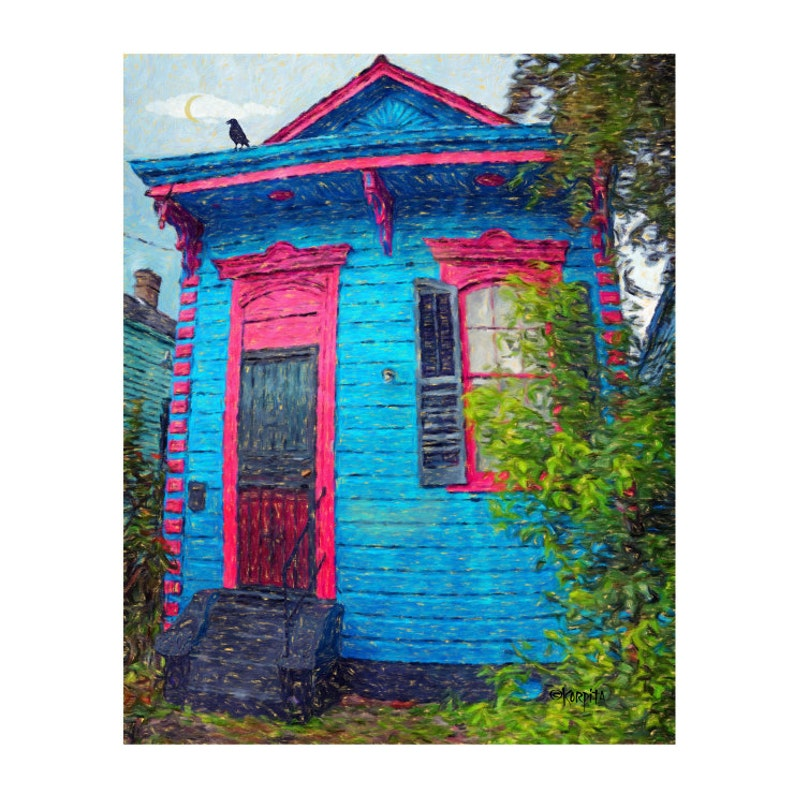 New Orleans Art, Shotgun House Art, Crow Moon Art, New Orleans Houses,  Bywater House Art, Blue House, Funky house, Tiny House Art, KORPITA