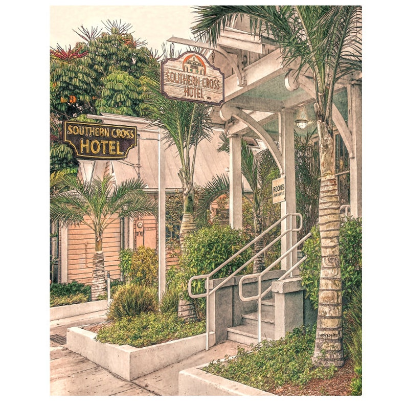 Key West Art, Southern Cross Hotel, Tropical Art, Old Florida, Duval  Street, Key West Print, Wall Art, Old Hotel Print, Palm Tree, Korpita