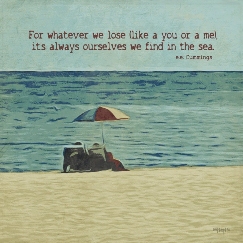 fe60f261dc E E Cummings, Sea Quote, Beach Umbrella, Seashore Print, Coastal Word Art,  Coastal Wall Decor, Beach Quote, Seascape, 10x10, 20x20, KORPITA