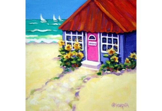 Beach Cottage Art Beach House Decor Beach Wall Decor Tiny