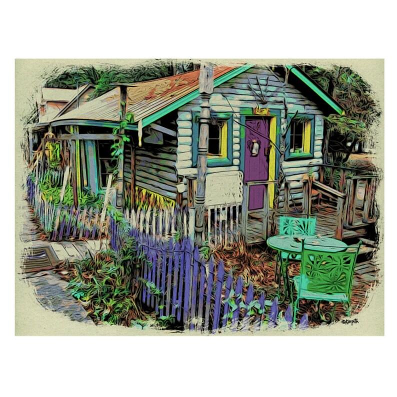 Colorful House Art, Tiny House Art, Mentone AL, Whimsical House Art, House  Portrait, Funky House Art, Colorful Cottage, KORPITA