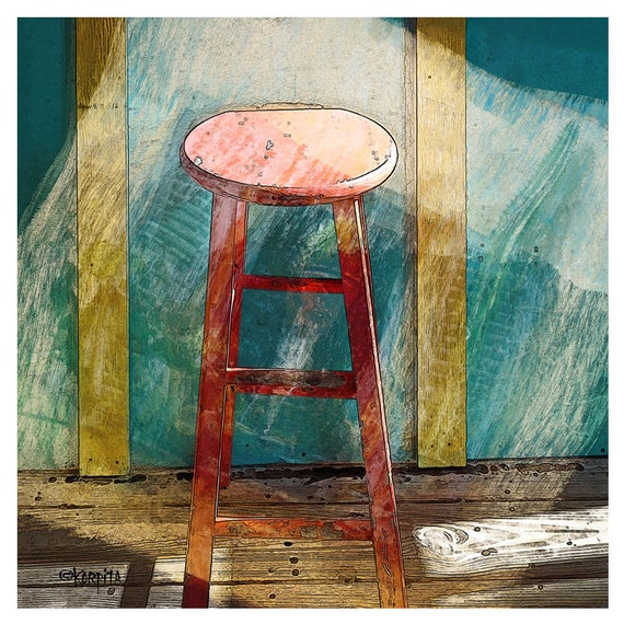 Beach bar ideas beach cottage Fort Myers Image Madeinthebarn Red Bar Stool Print Beach Cottage Decor Yellow Turquoise Etsy