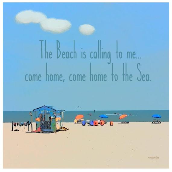 7f23844228 Beach Quote Sea Inspirational Seashore Coastal Ocean Text Art Glicee Print  - Come Home to the Sea - 10x10, 16x16, 20x20, 24x24 Korpita ebsq
