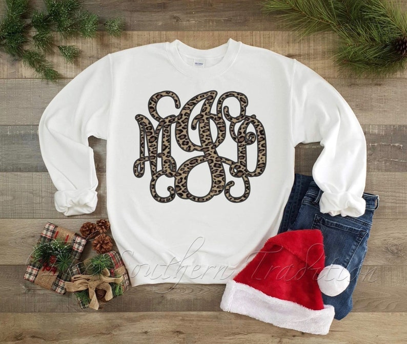 Youth Leopard Large Monogram Sweatshirt-White Sweatshirt-Large Monogram Sweatshirt-Leopard Print Sweatshirt