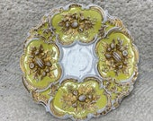 Antique 1800s Meissen hand painted yellow and gold Rococo centerpiece bowl 8 quot 19th century porcelain