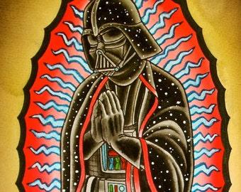 Vader of Guadalupe Art Print, Virgin Mary Darth Vader