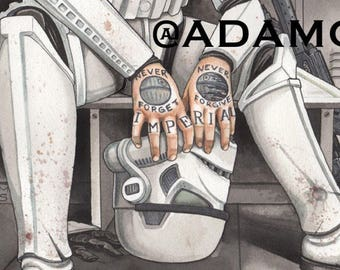 Never Forget, Never Forgive: Tattooed Stormtrooper Art Print