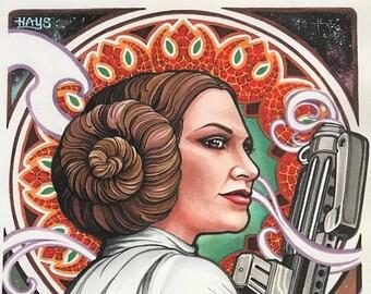 "Princess Leia ""Hope"" Art Nouveau Style Art Print"