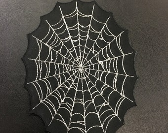 Spider Web Embroidered Iron-On Reflective Patch