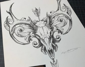 Original Flourished Trophy skull