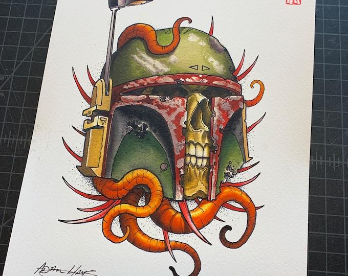 Featured listing image: Boba Fett Skull Art Print