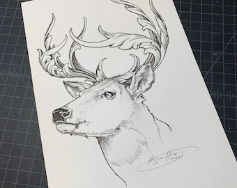 Original Flourished antler deer illustration
