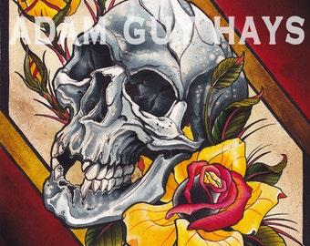 ON SALE Skull and Rose Art Print