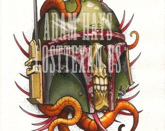 Boba Fett Skull Art Print