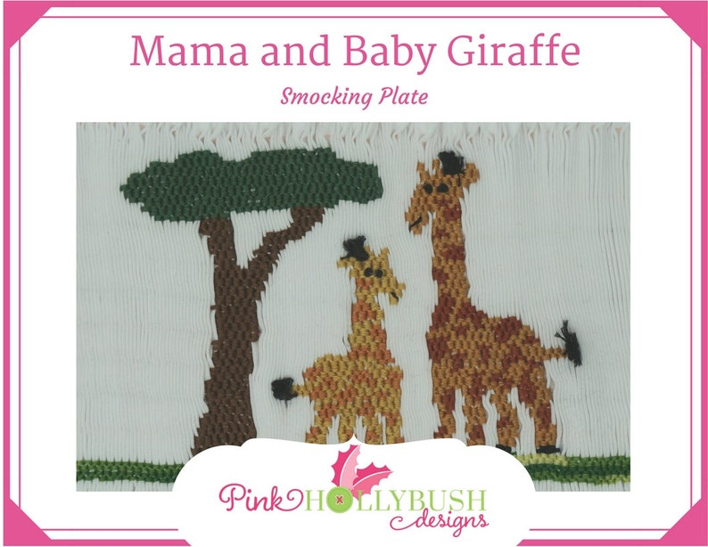 5caf4686609a4 Mama and Baby Giraffe Downloadable Picture Smocking Plate | Etsy