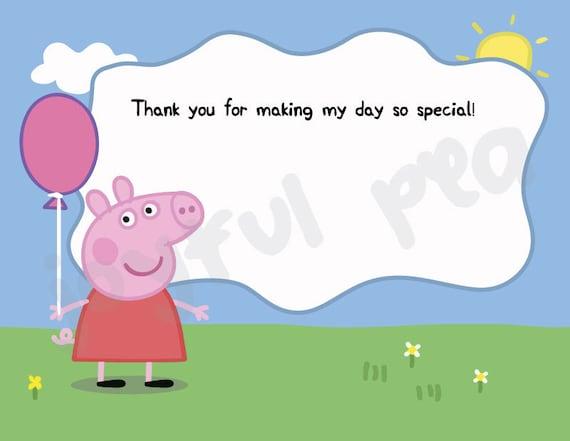 Peppa Pig Thank You Card Etsy