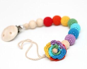 Rainbow flower dummy chain Pacifier clip, Crochet wooden holder, stroller dummy chain, Rainbow Teething wooden baby toy