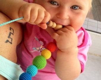 Juniper Rainbow Nursing necklace, Breastfeeding eco-friendly necklace by magazinIL