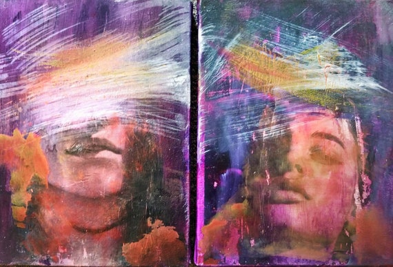 """""""Deep Purple """"  Abstract Diptich Acrylic Painting on Canvas, 18 x 24"""