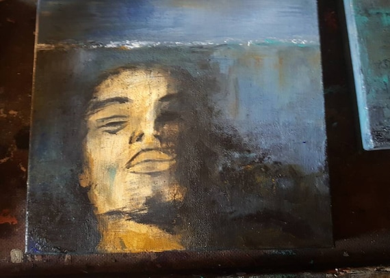 Fine art, original acrylic figurative art,one of a kind,ocean,under the sea, 20,000 leagues under the sea,manundereayer,man drowning,michele