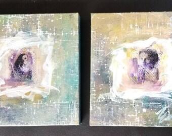 Original art on canvas,women portraits,Diptich art,abstract art,painted ladies,10 by 10 inch,michelemorganart
